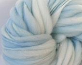 Handspun Chunky Bulky Yarn, Hand Painted  Thick and Thin,  Merino Wool, Photo Prop, Baby Bump Blanket,  Doll hair, Slub Yarn, Ice 50 yards