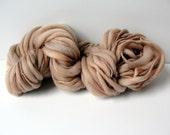 Handspun Chunky Bulky Yarn Hand Painted  Thick and Thin wool Photo Prop Yarn  Slub Yarn Baby Bump Blanker layering yarn  50 yards Caramel