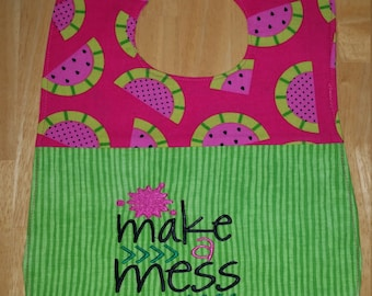 Make A Mess Embroidered Watermelon Feeder Bib