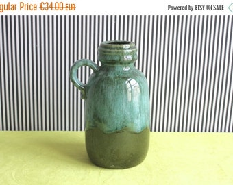 Summersale West German Pottery Forest Green and Aquamarine Blue Handled Vase 413-20 made by Scheurich