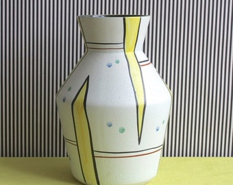 Summersale Large and Rare Mid Century Modern Fohr Keramik West German Pottery Handpainted Vase
