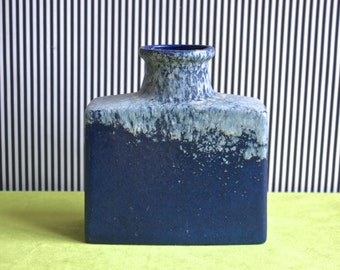 Scheurich West German Pottery Rectangular Vase in Electric Blue and Gray 281-19
