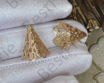 4 pcs 17x19mm 24K Gold plated Brass filigree cone Flower Bead Cap, Brass Bead Cap, Charms Jewelry Findings, Simple Bead Cap
