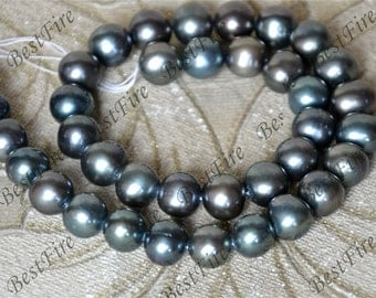 Big 10-11mm black round freshwater genuine pearl,cultured pearl beads,natural pearls, Freshwater Cultured pearl loose beads