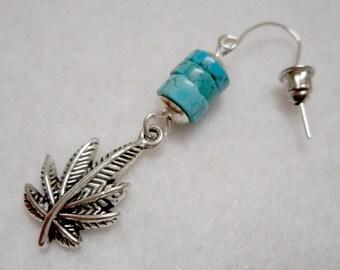 Men's Earring, Man's Earring, Stone Earring, Dangle Earring, Marijuana Earring, Statement Earring, Men's Jewelry, Man's Jewelry