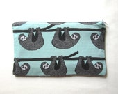Sloths on Mint Green Fabric Zipper Pouch / Pencil Case / Make Up Bag / Gadget Sack