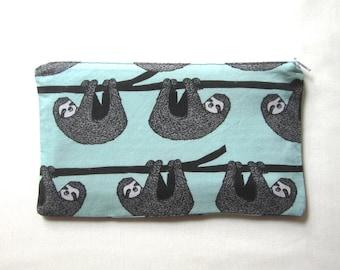 Sloths on Mint Green Fabric Zipper Pouch / Pencil Case / Make Up Bag / Gadget Sack