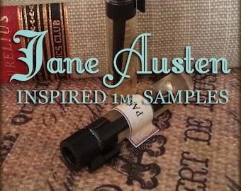 JANE AUSTEN inspired Perfume Oil Sample Set / 1ml samples / Vegan perfume oil / Pride & Prejudice
