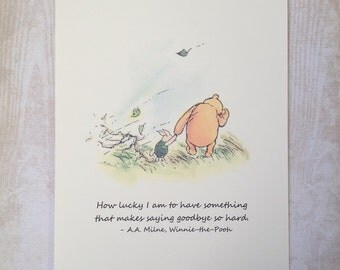 How Lucky I Am - Winnie the Pooh Quote - Classic Pooh and Piglet 8x10 Nursery Print
