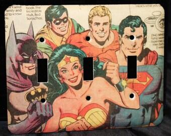 Justice League Super Friends Wonder Woman Superman Batman Robin Aqua Man Triple Switch Plate Light Cover Wallplate