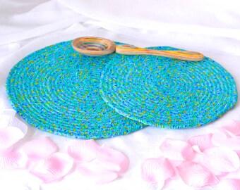 Bridal Shower Gift, Trivet Set, 2 Handmade Hot Pads, Azure Blue Table Mats, 2 Blue Floral Potholders, Mug Rugs, Kitchen Decoration