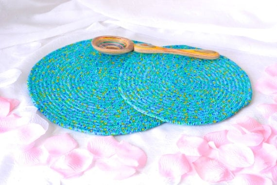 Blue Trivet Set, Bridal Shower Gift, 2 Handmade Hot Pads, Azure Blue Table Mats, 2 Blue Floral Potholders, Mug Rugs, Kitchen Decoration