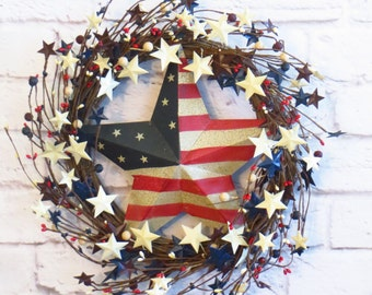 Patriotic Wreath, Americana Wreath, Americana, Decor, Memorial Day Wreath, Veterans Day Wreath, July 4th Wreath, Rustic Red White and Blue