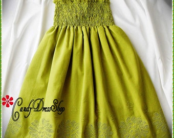 Olive green beach flower girl dress, Beach wedding flower girl dress, Olive green dress for girls, party dress, Olive green eyelet dress,