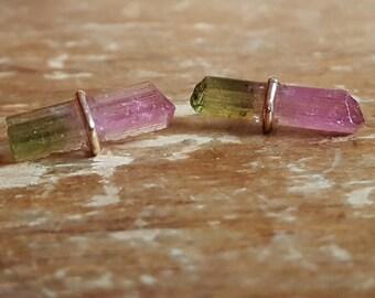 Watermelon Tourmaline Earrings October Birthstone Earrings Raw Crystal Earrings Womens Girlfriend Gift 14K Gold Studs Tourmaline Jewelry 14K