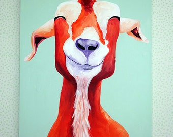 Goat Painting, Happy Goat, Goat Art, 30x40 Painting, Red Goat Painting, Red Purple and Mint Art