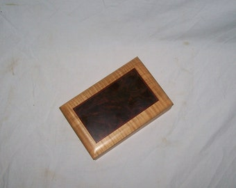 Playing Card Box Handmade Fiddle Back Maple with Fancy Walnut Inlayed top Handmade
