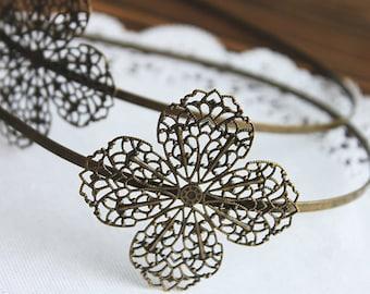 10Pcs Adjustable Antique Bronze Filigree Floral HeadBand Setting NICKEL FREE(HBSB-5)