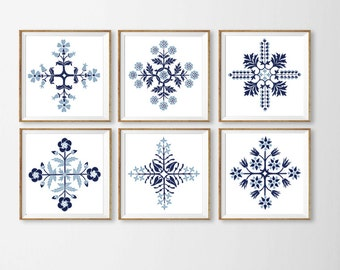 Navy Wall Art Prints Set of 6 , Blue and White Art  Wall Decor Large Wall Art Square , Wall  Navy Dining Room Bedroom Art Custom Living r1