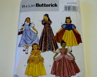 Sewing Pattern Butterick B4320: Children's/Girl's Classic Character Costumes - Sizes 2-5