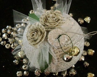 """3"""" Jane Austen Pride and Prejudice Christmas ornament book page holiday decoration wedding favor"""