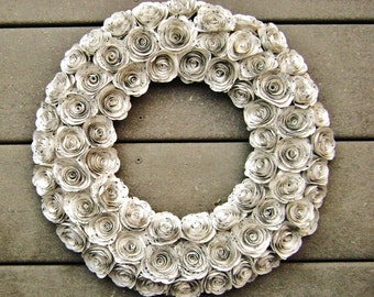 "14"" hymnal sheet music or book page spiral rose paper flower recycled wreath for farmhouse shabby chic junk Christmas decorations"