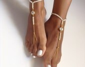 barefoot sandals, crystal stones, gold-plated, weddingaccessory, bridalaccessory, jewelry, Beachaccessory, shoe,