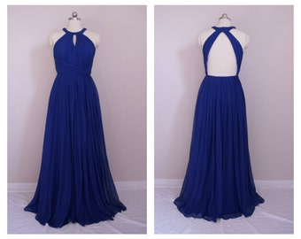 Chiffon Bridesmaid Dress with High Halter Neck Backless - Custom Color and size