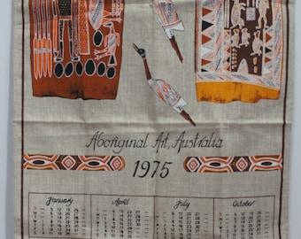 Vintage 1975 Australian Calendar Towel