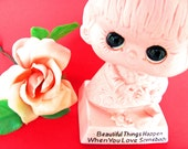 Pink W & R  Berries And Company Figurine 6 1/2 Inch Tall 1970 Valentine's Day Big Eyes Girl Beautiful Things Happen When You Love Somebody