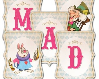Alice in Wonderland Party Banner - We Are All Mad Here - Instant Download - Print Your Own