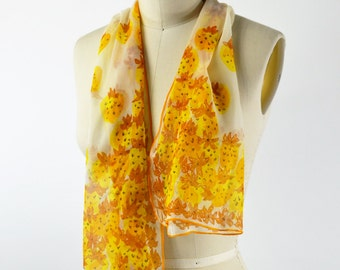 Vintage Vera Scarf 1970s Rectangle Neck Scarf White and Yellow and Brown Strawberries Rolled Hem 13 X 43