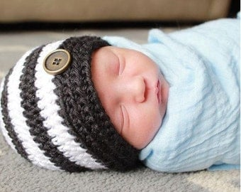 Baby Boy Hat - Black and White Striped Boy Hat - Baby Boy Photo Prop Hat - Boy Hat - Hipster Boy Hat - Baby Shower Gift -  by JojosBootique