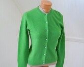 J Crew Green Wool and Cashmere Cardigan w Crystal Paste Buttons, S