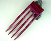 Reserved for Happycrafting  4 Prong Hair Fork made from Fuchsia  DymondWood-  Very durable. Water resistant.