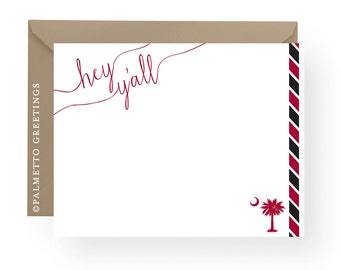 PRINTED - Hey Y'all University of South Carolina Gamecocks Inspired Notecards, South Carolina Palmetto Moon Notecards with stripes- Set of 8