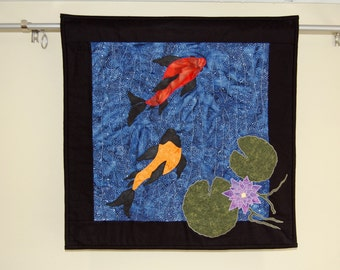 Koi Fish Art Quilt, Wallhanging, Koi Series #1