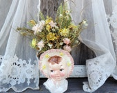 Dried Flower Floral Arrangement Vintage Pottery Vase Little Girl in Bonnet Planter Pastel Pinks and Yellow Straw Flowers Millet Cedar Rose