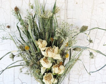 Dried Flower Bouquet Floral Arrangement White Peonies Peony Meadow Grass Queen Anne's Lace Zebra Grass Billy Balls Free Lavender Sachet