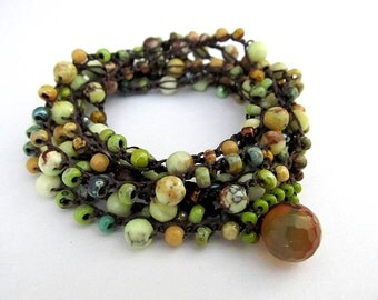 "Crochet  wrap bracelet, beaded, boho necklace, ""magic forest"", olive green, bohemian jewelry, crochet jewelry, fall fashion, coffycrochet"