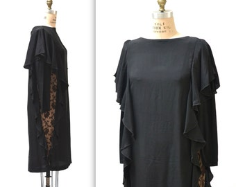 Vintage Black Silk Dress Size Medium Large with Ruffles and Lace// 80s Black Silk Dress Size Medium Large with Lace and Ruffles