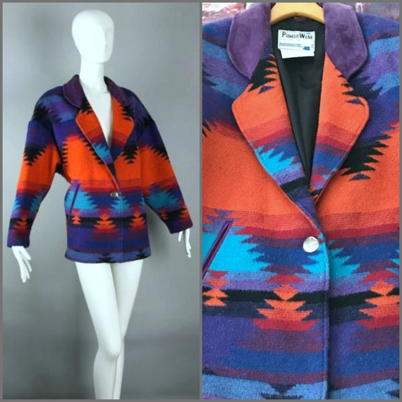 ViNtAgE Wool Suede Indian Blanket Jacket Ethnic Tribal Coat Southwest Pioneer Wear Aztec Boho Hippie bohemian Gypsy Festival
