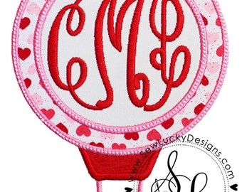 Hot Air Balloon Valentines Applique Design- machine embroidery design- Many formats - INSTANT Download