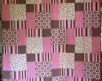 Pink and Brown Quilt and Pillowcase
