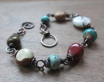 Desert moon - beaded copper bracelet