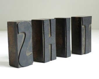 Vintage Jumbo Letterpress block Stamps, Wood Printers Letters, Cuss Word Letter Press Word Blocks, Wooden Print Blocks S, H, I, T