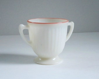Vintage Pyrex MacBeth Evans Cremax Petalware Pink Trim Sugar Bowl, Pre Pyrex Corning 30s Glass Sugar Bowl