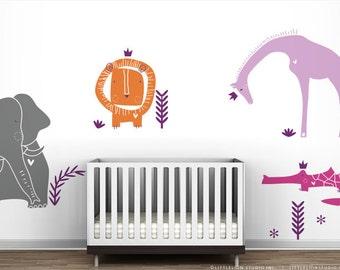 Modern Baby Nursery Royal Safari Wall Decal Mural by LittleLion Studio. Hot Pink, Lilac, Orange and Grey.