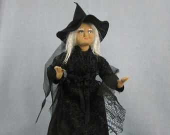 Witch Soft Sculpture Miniature Doll by Marie W. Evans