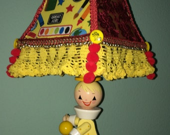 Vintage Clown Wood Child's Lamp Fabric and Lace Handmade Shade for Nursery